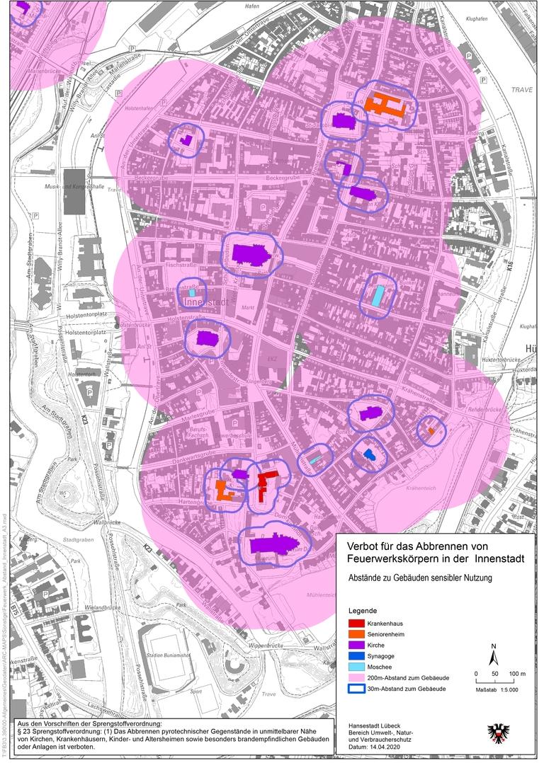 Verbotene Böllerzonen in Lübeck