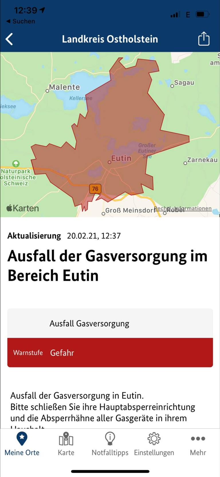 Gasversorgung Eutin NINA Warnmeldung