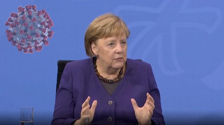 Bundeskanzlerin Angela Merkel zurPressekonferenz 13.12.2020