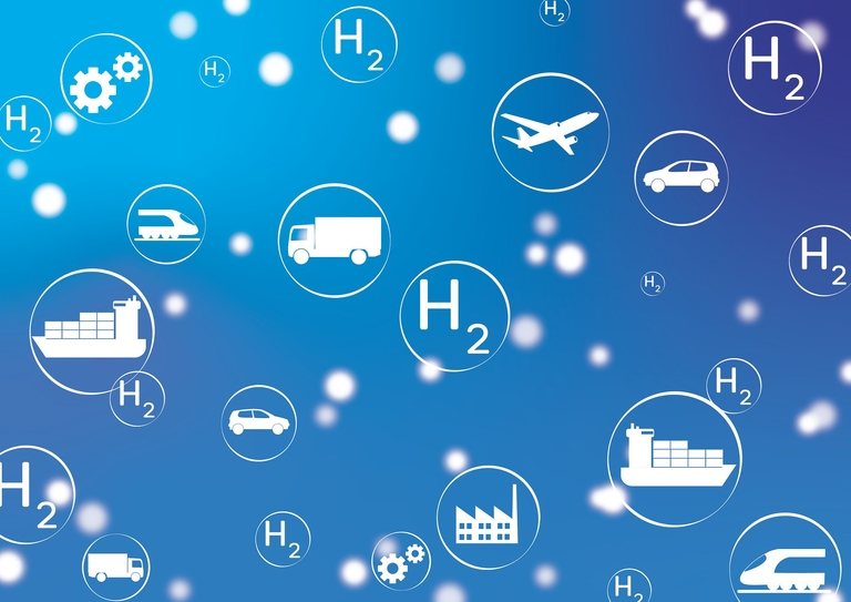 Fotomontage über verschiedene Sachen, die mit Wasserstoff betrieben werden können.